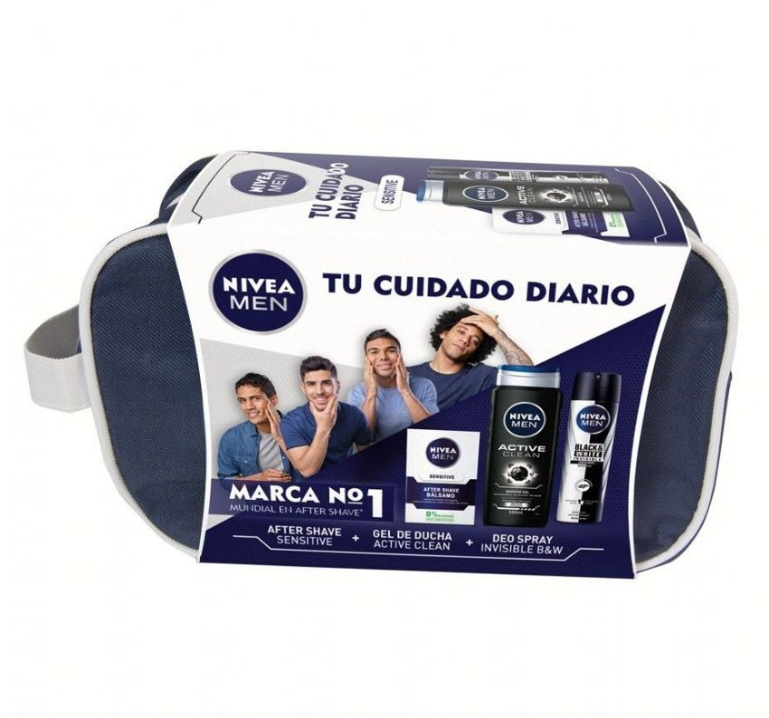 Neceser NIVEA MEN con bálsamo after shave Sensitive, gel ducha Active Clean, desodorante Invisible